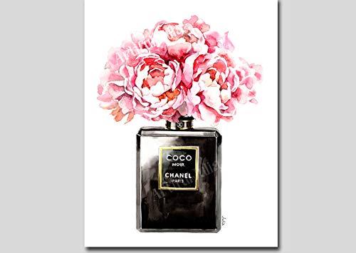 Vase Bottle Perfume (Black perfume art print of watercolor painting, (NO FRAME), 5