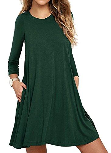 Mujer Casual Loose Talla Grande Vestido de Camiseta con Bolsillos O-Cuello Manga Larga Vestido de Fiesta de Noche Verde Oscuro