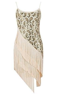 Solatin Women's Vintage 1920s Scalloped Petal Sequin Tassels Dress
