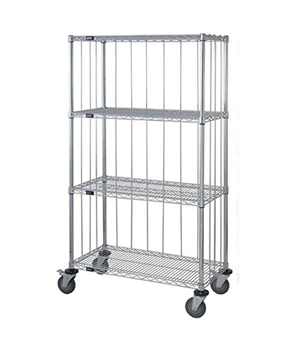 (Quantum 3 Sided 4 Wire Shelf Cart with Rods & Tabs 74
