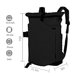 Cai 15.4 '' Business Laptop Backpack Anti-Theft Rolltop Bag Multifunctional Satchel Bag Water Resistant Computer Rucksack School Working Travel Commuting Bag for Men Women 5196 Ash Black
