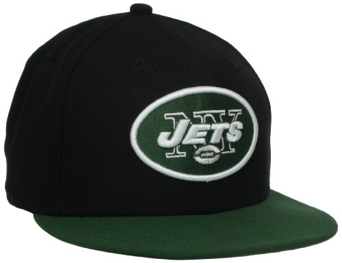 NFL New York Jets Black and Team Color 59Fifty Fitted Cap, Black/Green, 7 1/2