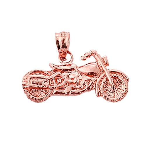 Fine 14k Rose Gold Motorcycle Charm Pendant