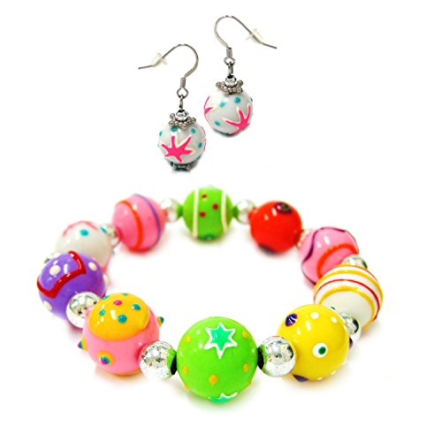 Painted Bracelet Set - Linpeng Set for Girls Colorful Mix Pattern Round Handmade Painted Beads Stretch Bracelet and Drop Earrings, Assorted
