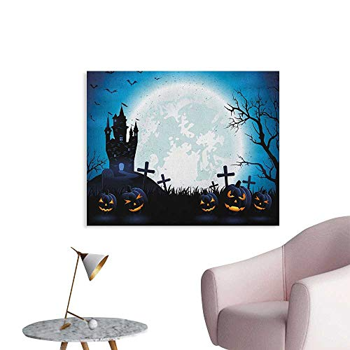 Anzhutwelve Halloween Poster Wall Decor Spooky Concept with Scary Icons Old Celtic Harvest Figures in Dark Image Holiday Print Funny Poster Blue W48 xL32]()