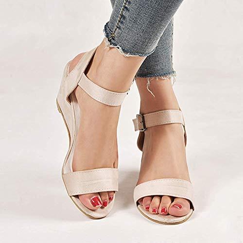 Romanas Zapatos Tacón Hebilla Sandalias Tomwell Peep Plataforma Toe A Cuña Beige Verano De Sandals Mujer Planas qIaOq