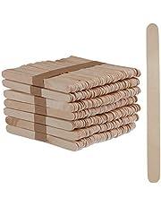 Relaxdays IJsstokjes van hout, 500 stuks, houten stokjes, knutselen, bakken, DIY ijslolly's, hxb: 11,5 x 1 cm, natuur, verpakking