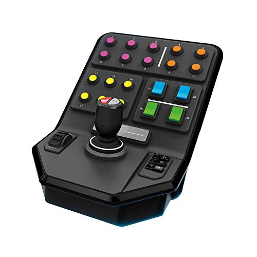 Logitech G Saitek Panel Lateral para Equipo Pesado, 25 Botones Asignables, Piloto Automatico Integrado, Carga Frontal, Palanca con Eje de Torsion, USB, PC/Mac, Color Negro