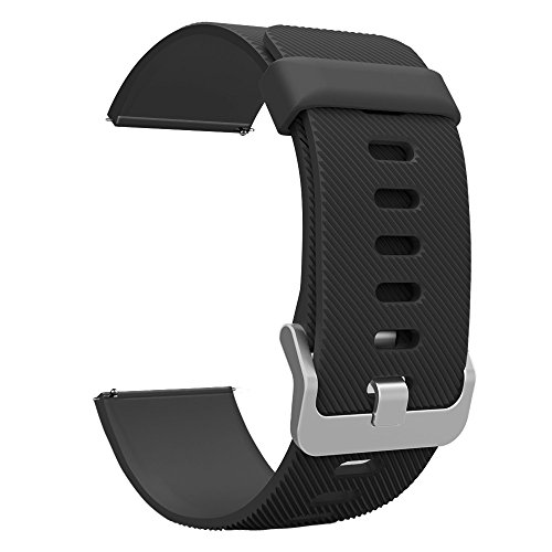 UMTele Soft Silicone Strap with Quick Release Pins for Fitbit Blaze Watch, Large, - Blaze Black