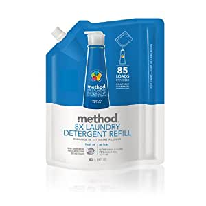 Method Naturally Derived 8X Concentrated Laundry Detergent Refill, Fresh Air, 85 Loads, 34 Fluid Ounce