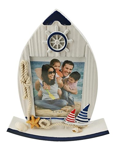 Mediterranean Style Decorative Starfish Anchor Shell Seagull Sailboat Pattern Wooden Photo Picture Frame Home Decoration Housewarming Gift (Roly-Poly Sailboat) ()