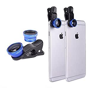 Blue Universal Clip-on 180 degree 3 in 1 Fisheye+Wide Angle+Macro Camera Lens For Case Samsung Note 3 Cover