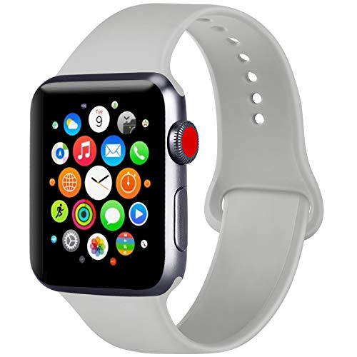 ATUP Compatible with Apple Watch Band 38mm 40mm 42mm 44mm Women Men, Soft Silicone Band Compatible with for iWatch Series 5, 4, 3, 2, 1 (Gray, 38mm/40mm-S/M)