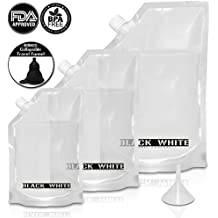 (3) Black & White Label Premium Plastic Flasks - Liquor Rum Runner Flask Cruise Kit Sneak Alcohol Drink Wine Pouch Bag Set Heavy Duty Reusable Concealable Flasks For Booze & Cocktails 1x32oz+1x16oz+1x8oz + Funnel