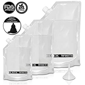 (3) Black & White Label Premium Plastic Flasks Liquor Rum Runner Flask Cruise Kit Sneak Alcohol Drink Wine Pouch Bag Set Heavy Duty Reusable Concealable Flasks For Booze & Cocktails 1x32oz+1x16oz+1x8oz + Funnel