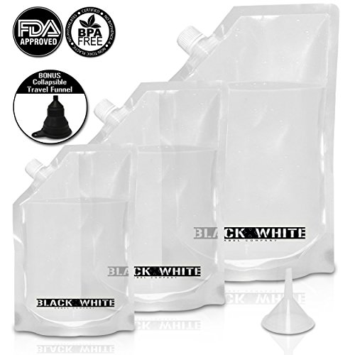 (3) Black & White Label Premium Plastic Flasks - Liquor Rum Runner Flask Cruise Kit Sneak Alcohol Drink Wine Pouch Bag Set Heavy Duty Reusable Concealable Flasks For Booze & (Superior Rum)