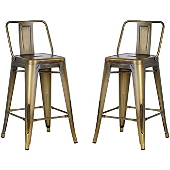 """AC Pacific Modern Industrial Metal Barstool with Bucket Back and 4 Leg Design, 24"""" Seat Bar Stools (Set of 2), Vintage Brass Gold Finish"""