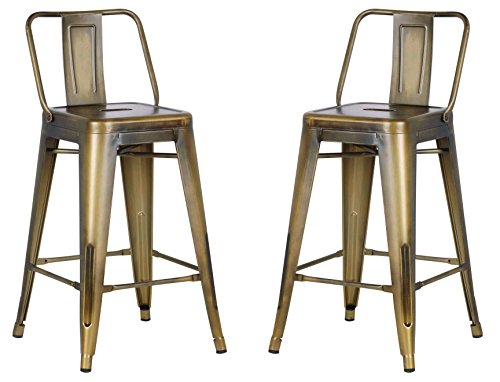 "AC Pacific Modern Industrial Metal Barstool with Bucket Back and 4 Leg Design, 24"" Seat Bar Stools (Set of 2), Vintage Brass Gold Finish"