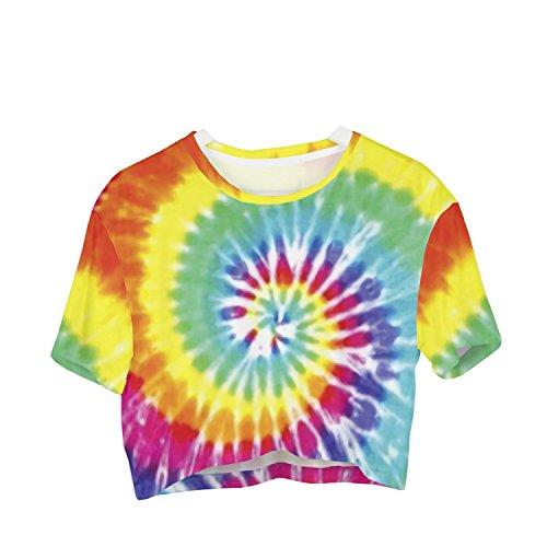 Fringoo Girls Women's Cropped baggy oversize T-shirt Festival Summer Crop (Cropped T-shirt Jersey)
