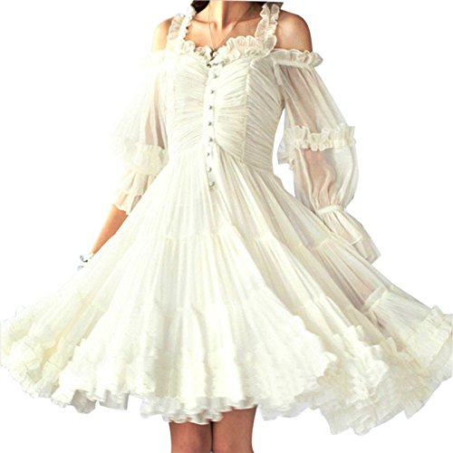 Petticoat Dress (Maggie Tang Women's 1950s Vintage Rockabilly Prom Dress Size XL Color White)