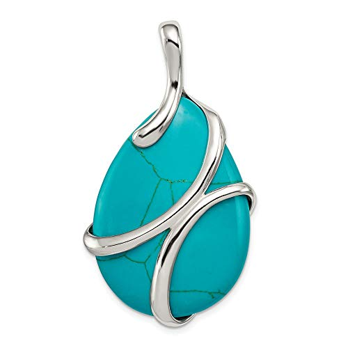 925 Sterling Silver Synthetic Blue Turquoise Pendant Charm Necklace Natural Stone Fine Jewelry Gifts For Women For Her ()