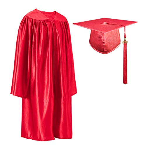 GGS Shiny Kindergarten Graduation Cap and Gown Tassel Set with 2019 Year Charm Red 27(3'6