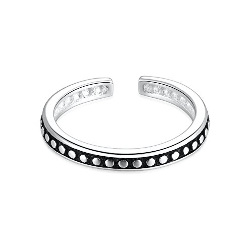 Custom Finger Two Ring (925 Sterling Silver Vintage Retro Minimalist Open Cuff Toe Ring Band Adjustable For Women Girls Size 2-4)