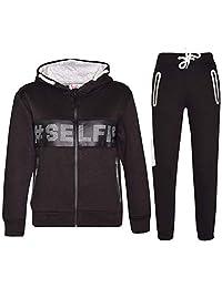 Kids Boys Girls Tracksuit Designer #Selfie Top & Bottom Jogging Suit Age 5-13 Yr