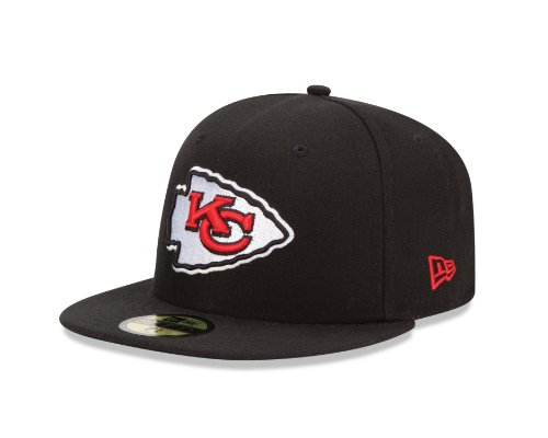 NFL Kansas City Chiefs Black and Team Color 59Fifty Fitted Cap, Black/Black, 7 3/8