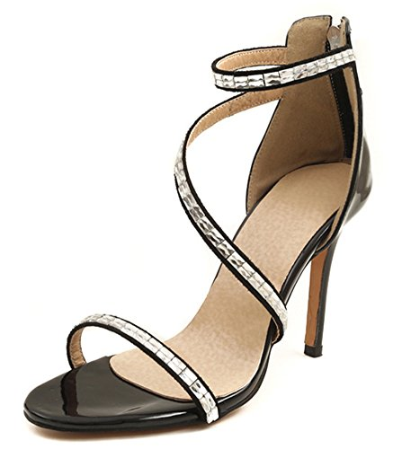 Bout Belle Stiletto Noir Strass Aisun Femmme Ouvert Sandales qv6wII