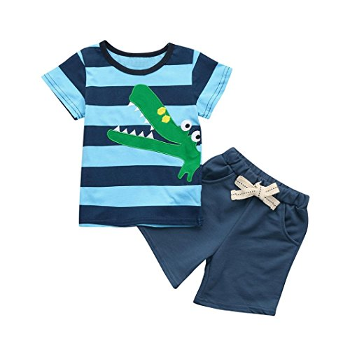 2Pcs Toddler Kids Baby Boys Cotton Embroidery Cartoon Print T Shirt Tops Shorts Outfits Set (Blue, 4Years) by Aritone