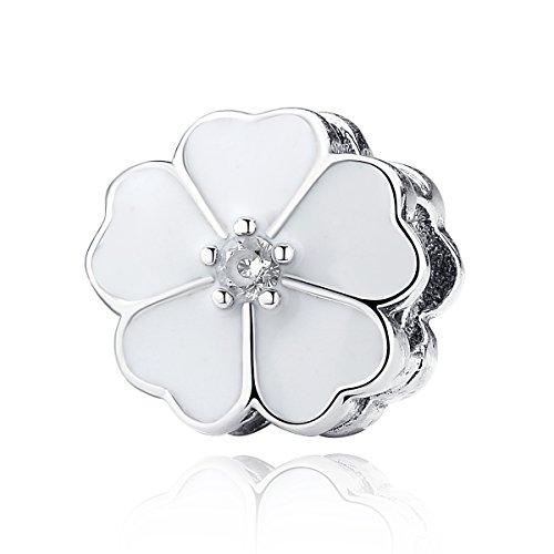 The Kiss Blooming Dahlia Daisy Primrose Flower Clip 925 Sterling Silver Bead Fits European Charm Bracelet (White Primrose)