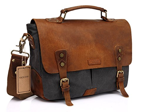 Vaschy Messenger bag for men, Vintage Leather Canvas Satchel 14in Laptop Crossbody Shoulder Bag
