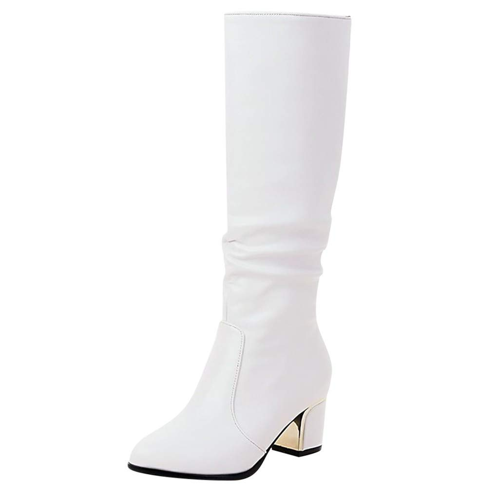 Hotkey Womens Knee High Riding Boots Wide Calf Chunky Flat Low Heel Combat Boots Winter Shoes Fashion Winter Warm Booties White by Hotkey