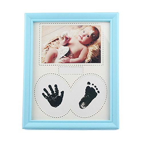 (Personalised Baby Photo Frame with Handprint & Footprint Kit, Non-Toxic Clean-Touch Ink Pad - Perfect New Baby Boy/Girl Shower Gift for Registry, Blue)