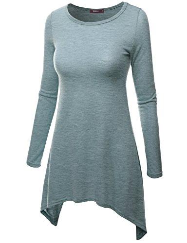 Doublju Women Lightweight Crew Neck 3/4 Sleeve Big Size T-Shirt HEATHERBLUE,XL