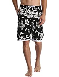Men's Quick Dry Beach Board Shorts Printed Swim Trunks Floral Casual Swim Shorts with Pockets