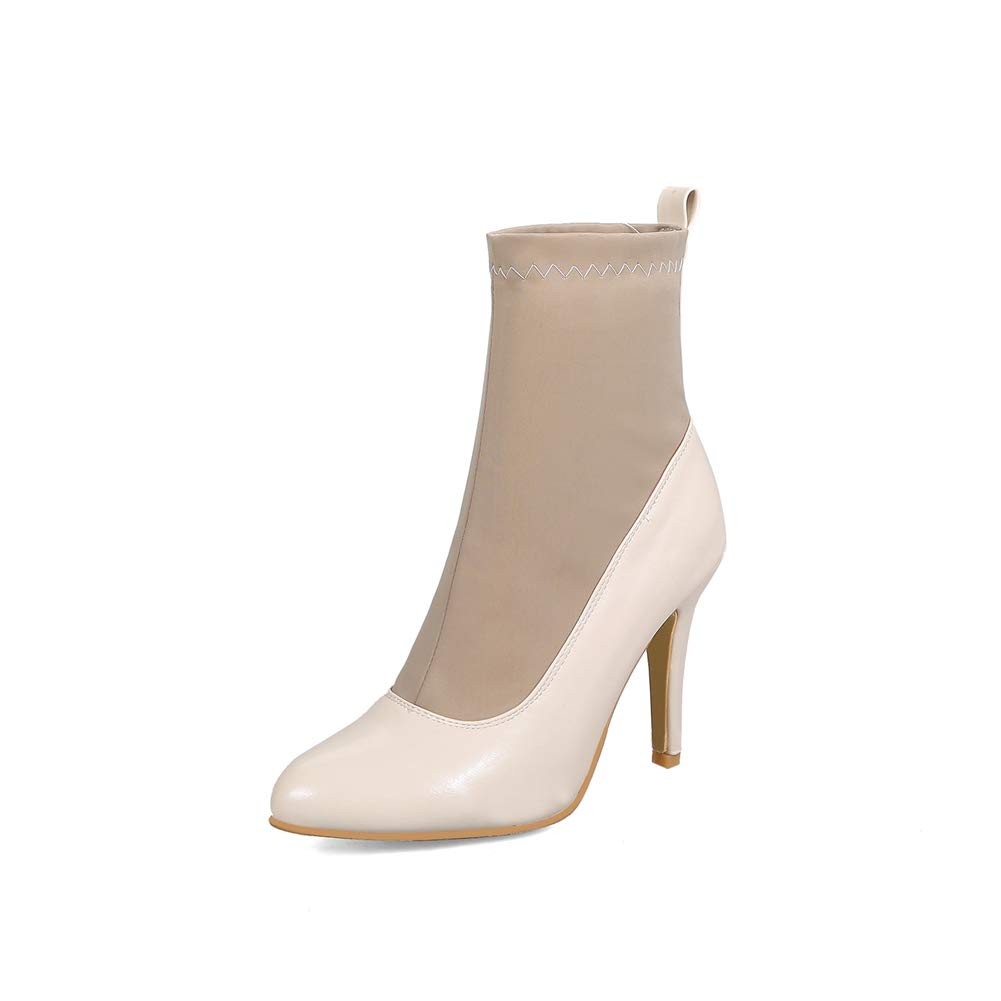 Btrada Women's Sexy Pointed Toe High Heels Elegant Ankle Boots Slip-on Booties Autumn Dress Shoes Pumps