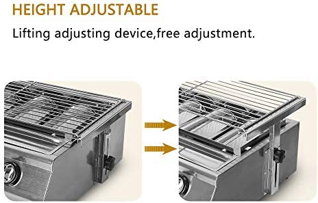 DWDADYYY 6-Stove BBQ Grill Smokeless Glass Shield Stainless Steel Outdoor Picnic BBQ Grill Adjustable Height