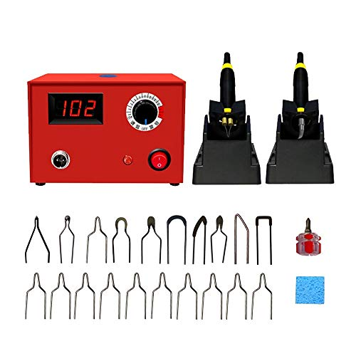 ETE ETMATE Wood Burning Kit 60W Pyrography Machine Adjustable Pyrography Machine Professional Pyrography Tool Kit with 2pcs Burner Pen,20pcs Pyrography Wire Tips