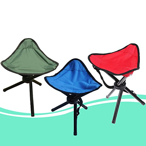Folding Stool By TSWA , Portable Outdoor Tripod Camping Seat Durable Slacker Chair for Hiking Beach BBQ and Other Activities