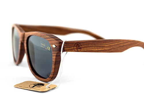 Real Sandalwood Sunglasses Wooden Wayfarer Design Polarized Lenses with Gift Box by Viable - Sports Sunglases
