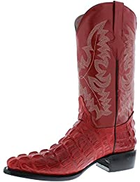 Mens Crocodile Alligator Tail Design Lather Cowboy Western Boots J Toe Red