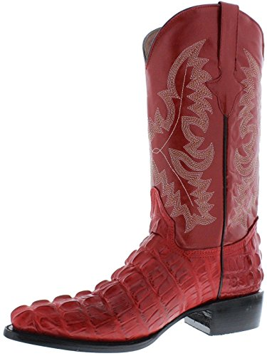 Red Men's Lather Crocodile Alligator Western Design Toe Boots Cowboy Tail J ZvZBq
