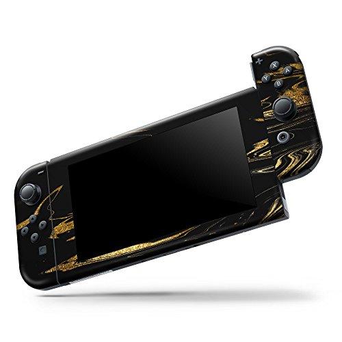 Nintendo Switch Console & Joy-Con Controller & Dock Protection Skin Decal Wrap Design Skinz Bundle - Black & Gold Marble Swirl V9