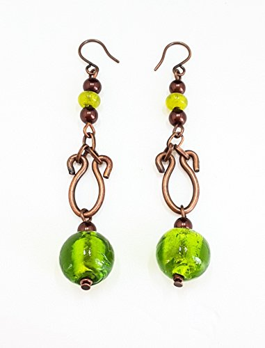 UNIQUE: LONG DROP COPPER EARRING WITH GREEN GLASS HANDMADE FROM - India Glasses Summer