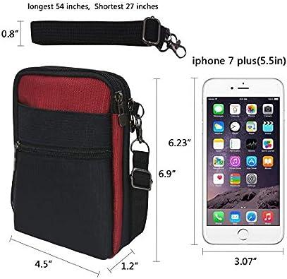 Crossbody Purse Cell Phone Shoulder Bag w//RFID Blocking Casual Nylon Waist Bag Fit IPhone 7//8 Plus//X Galaxy S8//S9//S10 Plus