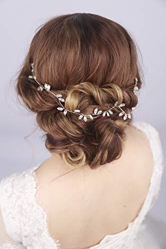 Kercisbeauty Wedding Crystal Headband for Bride Hair Vine Wreath Bridal Headpiece Prom Hair Accessories (Silver)