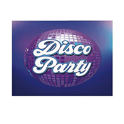 70s Party Decorations Photography Background,Retro Lettering on Disco Ball Night Club Theme Dance and Music Decorative Backdrop for Studio,5x3ft