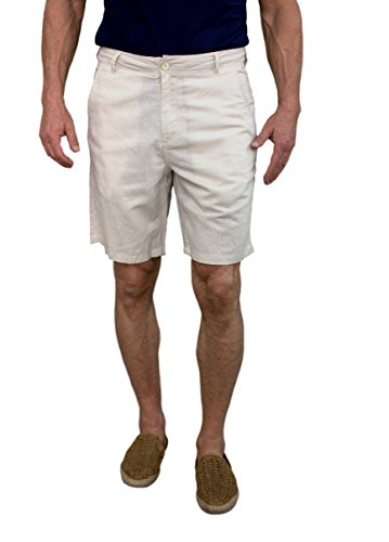 Short Fin Men's Linen Walking Shorts (Size 38, Stone L8001)